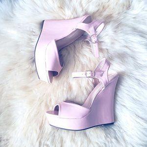 Cute Light Pink Wedge Platform Sandals